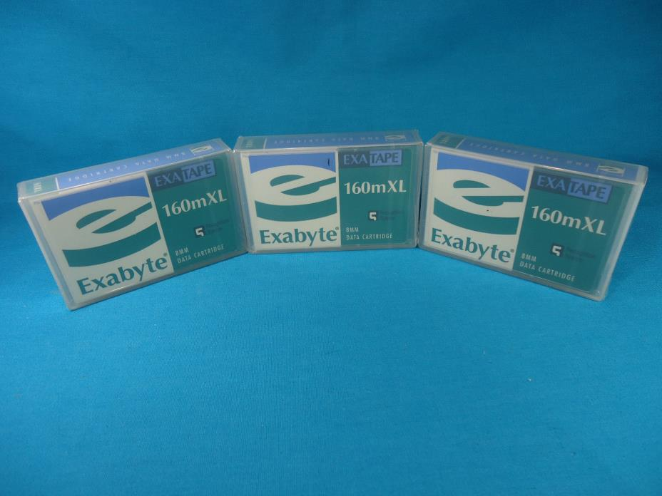 Lot - 3x Exabyte 160mXL Exatape Data Cartridges - 8mm Tape Drive - New