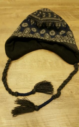Eddie Bauer Navy blue and grey Winter Ski Hat Beanie w/ Ear Flaps
