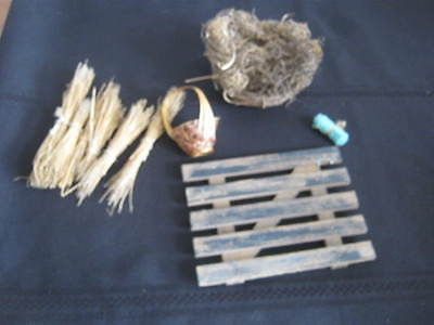 Vintage Nativity, Doll House Parts, Straw Bundles, Basket, Pallet, Manger