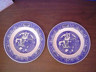 (2) Royal China Blue Willow Ware Dinner Plates 10 Inch Excellent