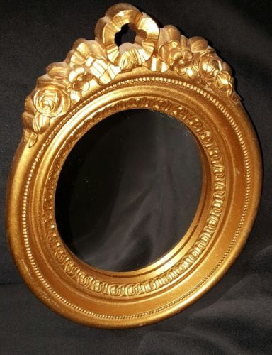 HOME INTERIORS HOMCO Set of Two GOLD RESIN Framed Oval Mirrors