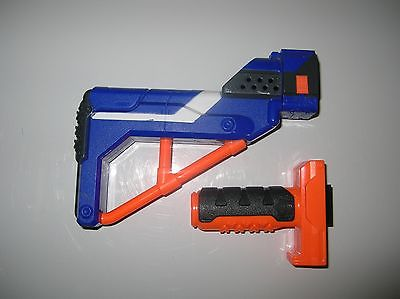Nice Used Nerf Elite Retaliator Stock and Foregrip Handle Blue Orange