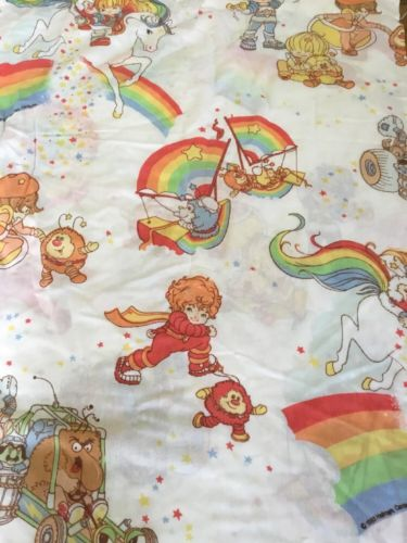 Rainbow Brite Twin Flat Sheet Vintage 1983 Hallmark Cards Fabric Craft Material