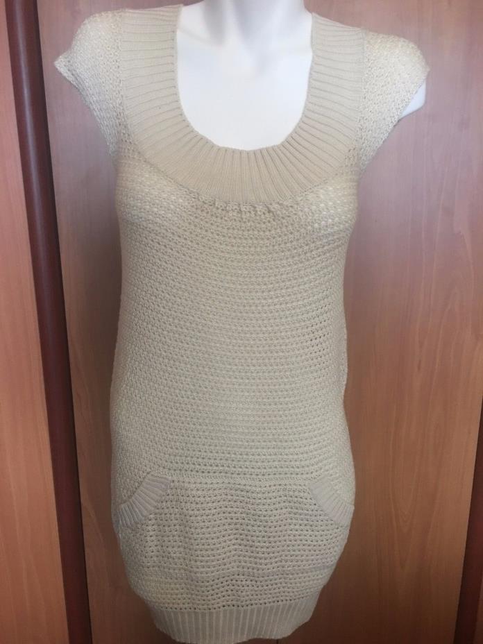 Pure Luck Women Beige Tan Shirt Top Tunic Dress Shirt Vest M Medium New Knitted