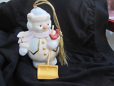 Lenox Snowman Shoveling Snow Christmas Ornament 2003 pink scarf