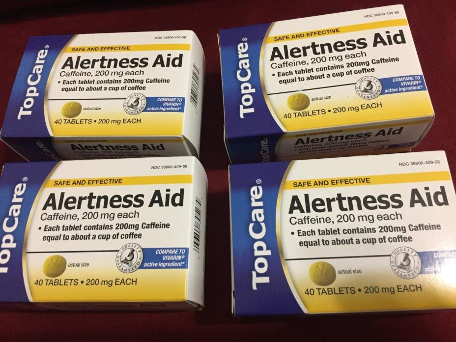 4 boxes  Caffeine Alertness Aid 200MG 160 tablets