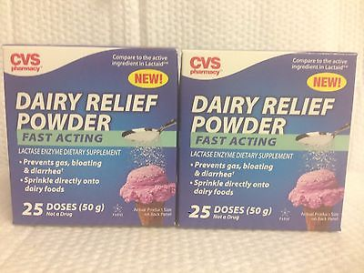 LOT OF 2  DAIRY RELIEF POWDER FAST ACTING 50 DOSES LACTASE ENZYME - GAS BLOATING