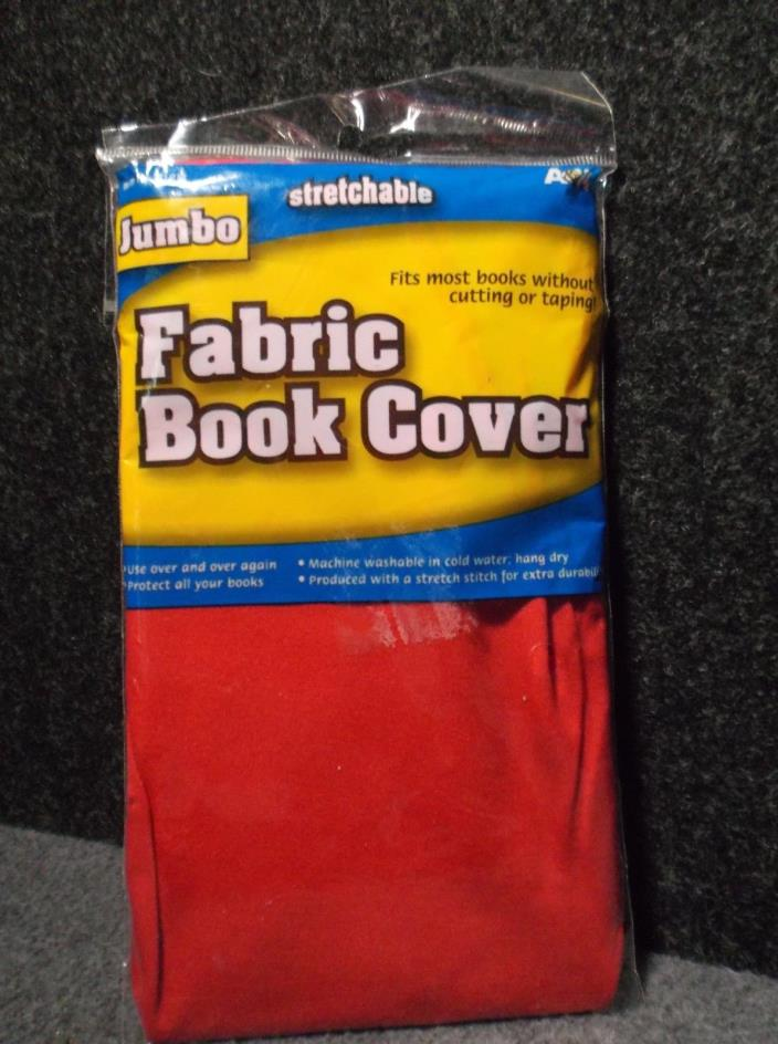 Jumbo Solid Red Stretchable Fabric Book Cover Fits Most Books No Cutting or Tapi