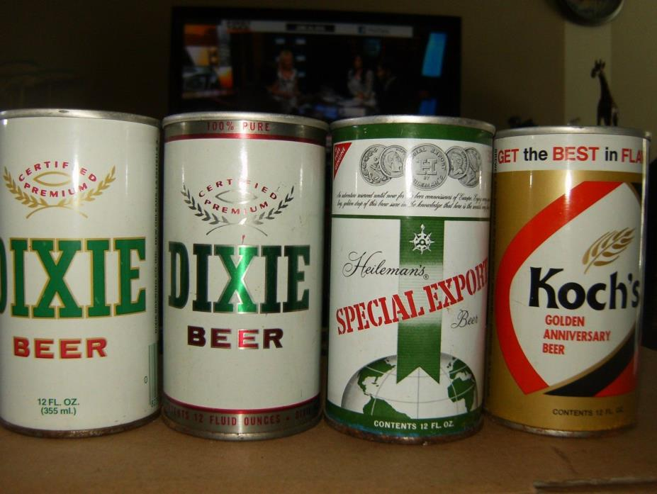 4 VINTAGE 12 OZ. STRAIGHT STEEL BEER CANS:  DIXIE (2)   SPECIAL EXPORT   KOCH'S