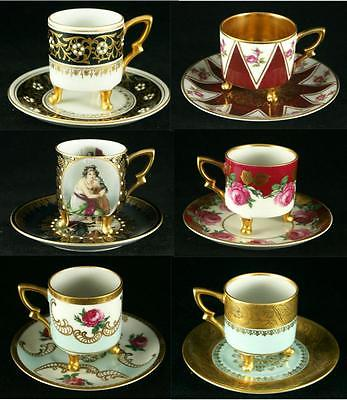 Set of 6 MITTERTEICH Demitasse 3 LEGGED Cups SAUCERS GORGEOUS Patterns GERMANY