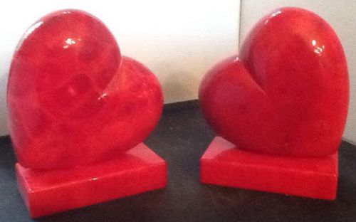 Marble Valentine Bookends / Red Heart Italian Alabaster  by Alabastri Ducceschi