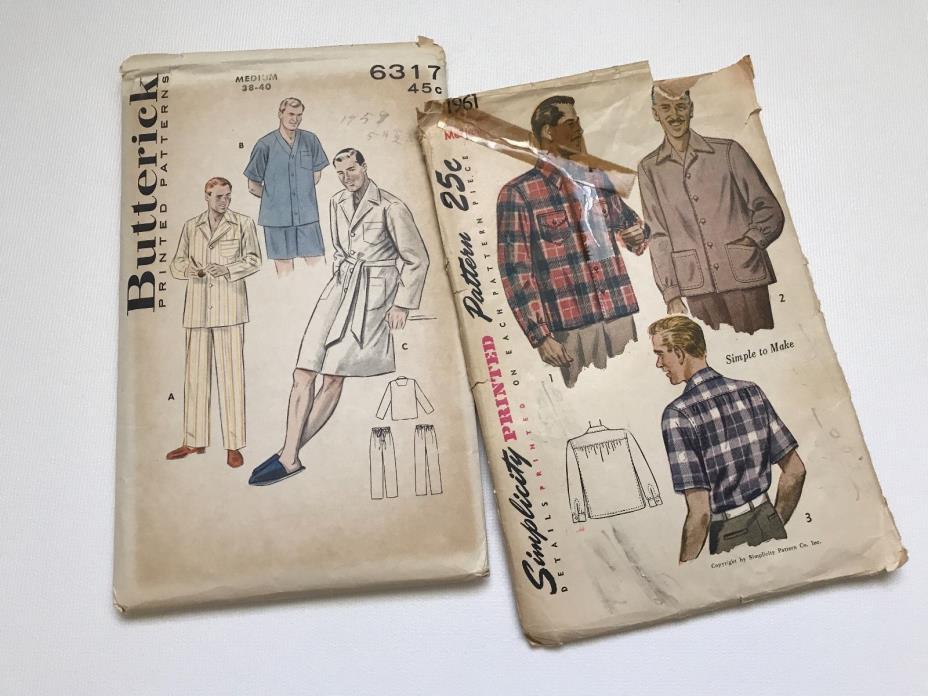 Vintage 1950's Men's Simplicity Butterick Pattern Lot-Shirt and & Pajamas-Medium