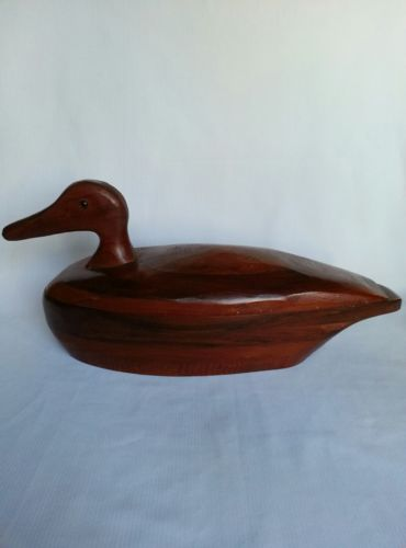 Vintage Hand Carved Wooden Duck Box