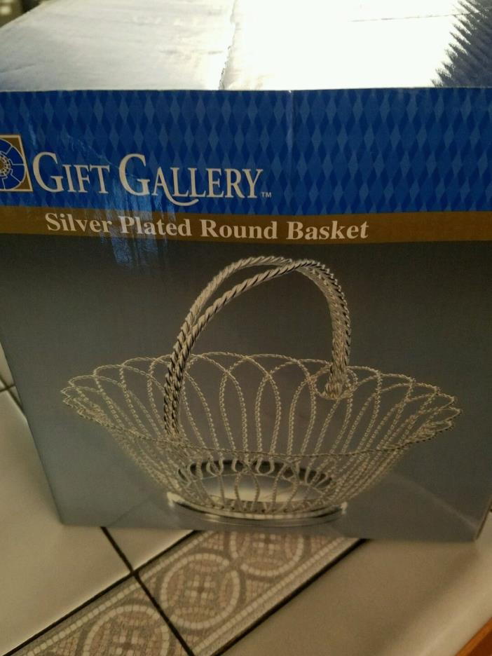GIFT GALLERY SILVER PLATED ROUND WRAPPED WIRE BASKET 9 INCH IN DIAMETER