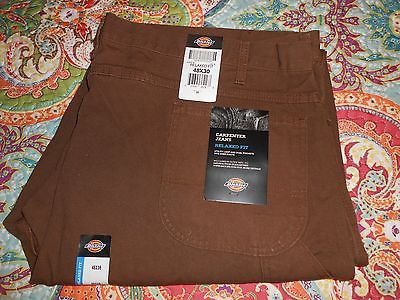 DICKIES Relaxed Fit CARPENTER JEANS BROWN 48 x 30 Dual pockets Utility Work