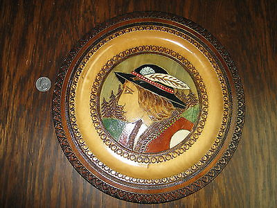 Vintage Polish Carved Wood Wall Plate -  Poland Native Indians Art 11.5