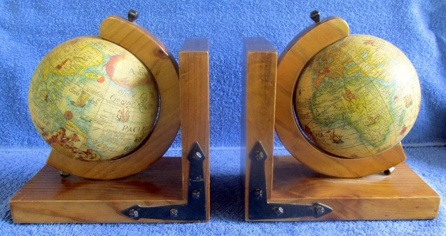 Vintage OLD WORLD ROTATING GLOBE Wood Wooden Bookends BOOK ENDS Library Decor