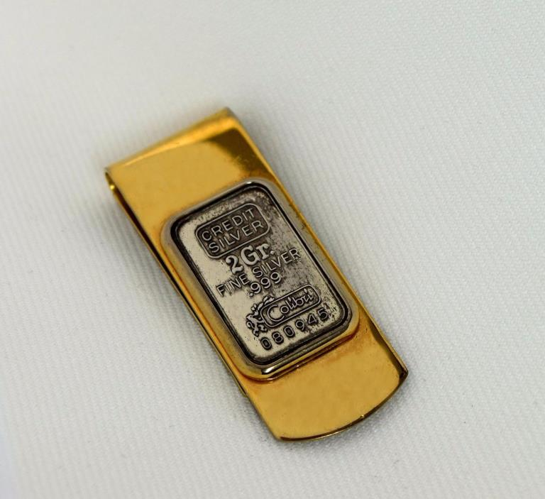 Vintage Colibri Gold Plated Money Clip w/ 2 Grams Solid Sterling Silver .999 Bar