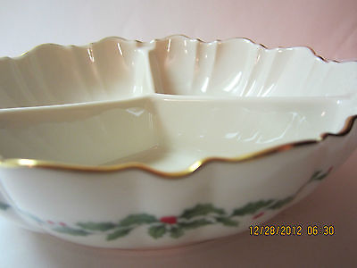Vintage Lenox Holiday/Christmas Divided Condiment/Candy Dish-Ivory& Gold Trim