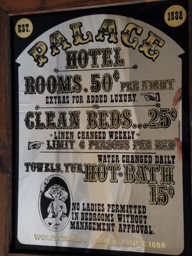 Palace Hotel San Francisco Wolfschmidt Vodka Bar Mirror 1970s Framed 19X15 RARE