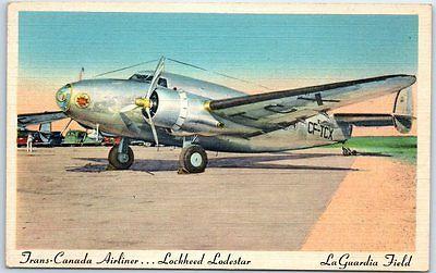 1950s LA GUARDIA FIELD Postcard Trans-Canada Airliner Lockheed Lodestar Airport