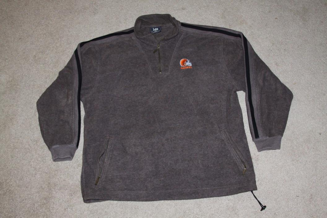 Lee Sport CLEVELAND BROWNS Helmet 1/4 Zip Fleece Sweatshirt MEN'S XL vtg 90s