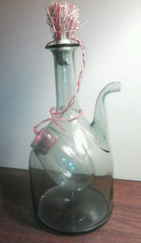 Vintage Italian Hand Blown Green Glass Wine Ice Carafe Bottle Excellent  cond