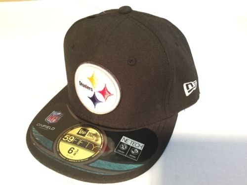 NWT NFL Pittsburgh Steelers New Era 59Fifty Black Cap, Hat Size 6 3/8 51cm