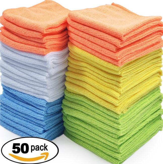 Microfiber Cleaning Cloth Set of 50 Towel Rag Car Polishing Detailing NonScratch