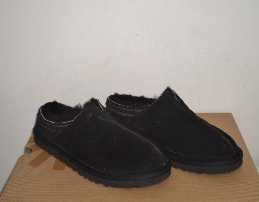 UGG Men's NEUMAN Slippers Shoes 12US BLACK SUEDE NWOB $120 MSRP