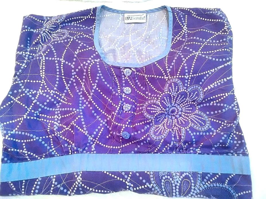 UA Scrubs Size Extra Small XS Purple Floral Fitted Scrub Top