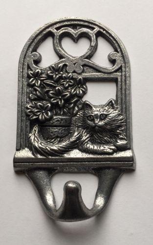 Adorable Cat Kitten Kitty With Flower Pot Wall Coat Hook cast Aluminum Metal