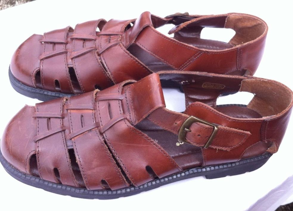 DEER STAGS Brown Leather Closed Toe Sandals Mens Size US 10