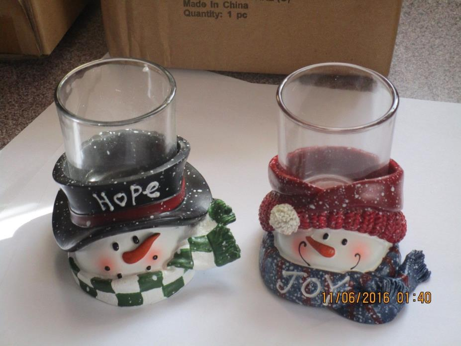 Yankee Candle Set of 2 Top Hat Snowmen Hope & Joy Votive Candle Holders