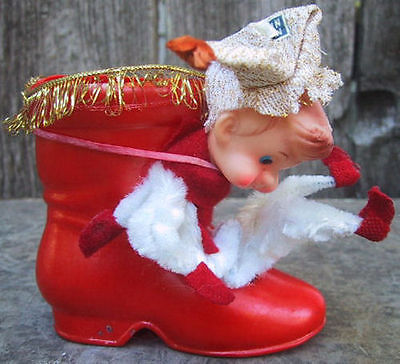 Japan Elf Pixie Knee Hugger Bell Banner Chenille Christmas Candy Holder Boot