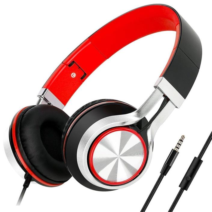 Sound Intone HD200 Stereo Headset Folding Headphones Black Red
