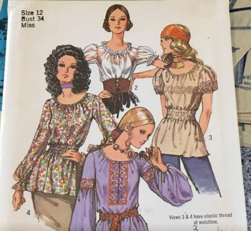 Vintage 1971 Blouse Sewing Pattern #9313 Gypsy Peasant Blouses Size 12 Bust 34