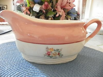 1930's French Saxon China Gravy Boat Sebring Ohio coral with floral