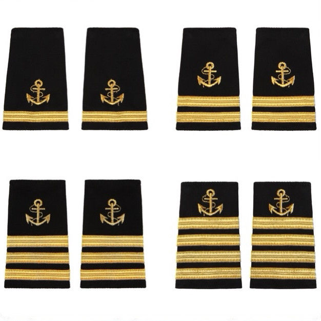 Captain Mate Shoulder Boards Epaulets With Gold Bars Stripes And Gold Anchor