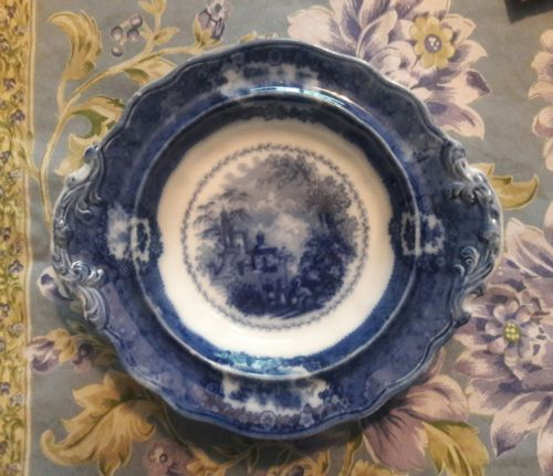 Ridgways Blue Flow  Historical China Bowl Oriental Pattern Butter Dish Plate