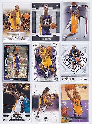 Kobe Bryant lot of 9 Different Lakers Excaliber SP Elite UD Prestige Threads