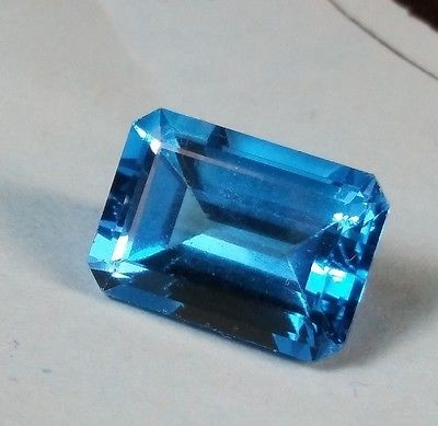 9.2 Ct Bright  NATURAL London Blue Topaz Beautiful Step Emerald Cut 14X10 AAA