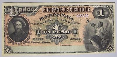 1880's Dominican Republic. Scarce 1 Peso Note, Crisp XF.