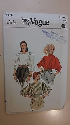 Vogue Pattern 8375 Vintage '80's Misses' Top UNCUT Sizes 6-8-10