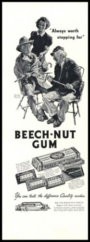 1937 Original Art AD Generals Custer & Grant Appeasement Beech-Nut Chewing Gum