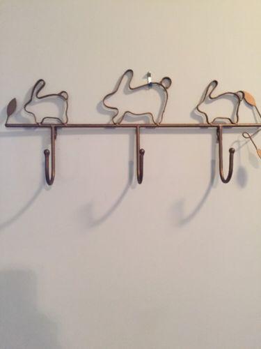 Vintage Folk Art Primitive Brass Color 3 BunnIes Hooks Coat Rack Wall Hanging