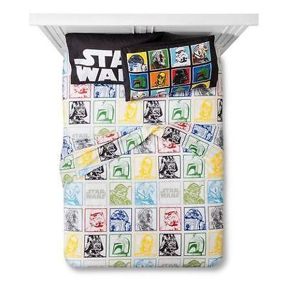 Star Wars Kid's Twin Bed Sheet Set - Flat & Fitted Sheet Pillowcase Cotton Blend