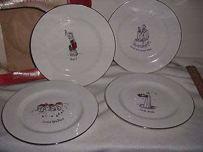 Merry Masterpieces Set/4 American Collection Dessert Plates Porcelain Xmas