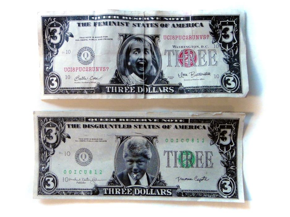 NOVELTY BILL & HILLARY CLINTON $3 BILL SET
