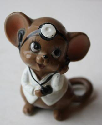 JOSEF ORIGINALS DR. MOUSE-MICE WITH HEAD MIRROR VINTAGE CERAMIC FIGURINE
